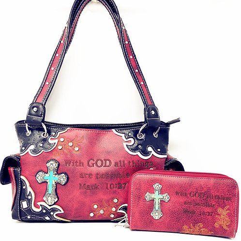 Premium Rhinestone Bible Verse Stone Cross Concealed Carry Handbag/Wallet Set