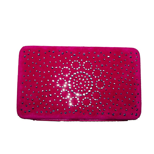 Rhinestone Womens Clip Wallet With Fast Shipping & Extra Checkbook