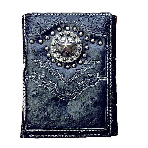 Ostrich Concho Long Star Emblem Trifold Short Wallet in 3 Colors