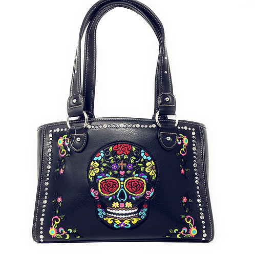 Western Sugar Skull Rhinestone Flora Embroider Concealed Carry Purse/Multi Color