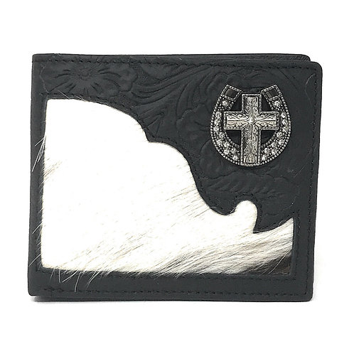 Western Genuine Tooled Leather Cowhide Cow Fur Cross Mens Bifold Short Wallet