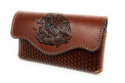 Western Cowboy Horizontal Basketweave Leather Mexican Cellphone Belt Case