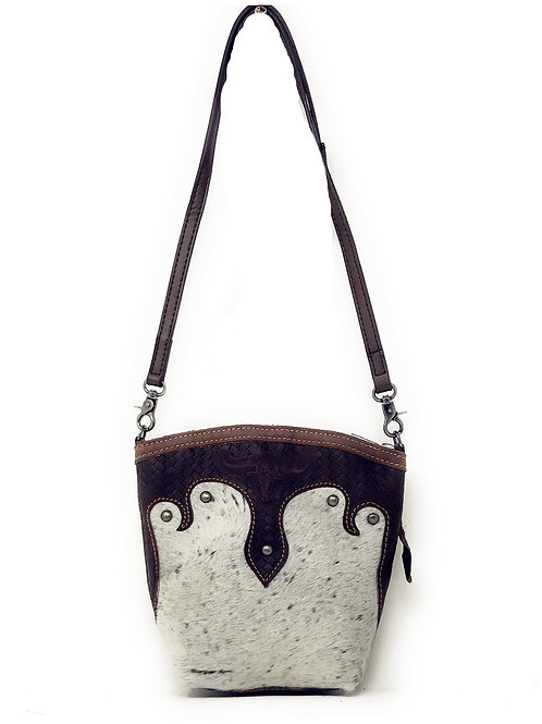 Western Womens Genuine Leather Cow Hide Tooling Longhorn Lone Star Crossbody Bag