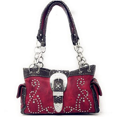 Premium Western Rhinestone Concealed Carry Buckle Floral Womens Shoulder Handbag