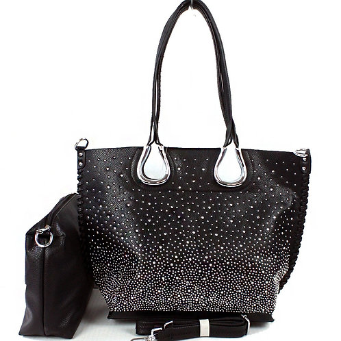 Rhinestone Studded Large Tote Handbag with Cosmetic Pouch 2 in 1Set