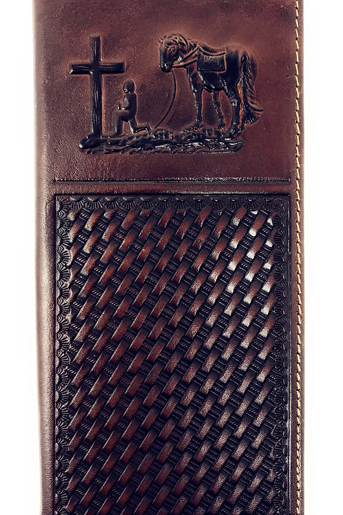 Western Mens Embossed Basketweave Cowboy Coffee Long Wallet in Multi Emblem