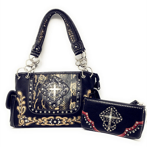 Rhinestone Cross Leather Women's Handbag Purse Wallet / Matching Set