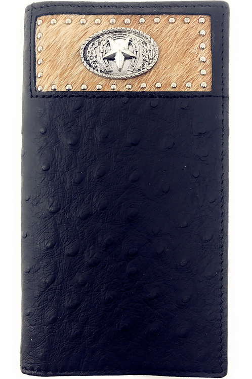 Western Men Black Genuine Leather Ostrich CowFur Metal Emblem Tooled Long Wallet