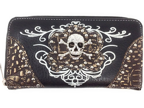 Texas West Western Embroidery Rhinestone Skull Womens Wallet In Multi Colors