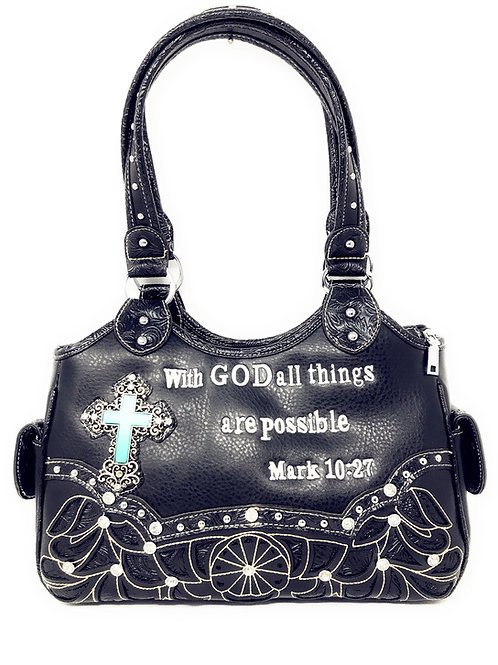 Rhinestone Conceal Carry Spiritual Cross Bible Verse Embroidery Laser Cut Purse