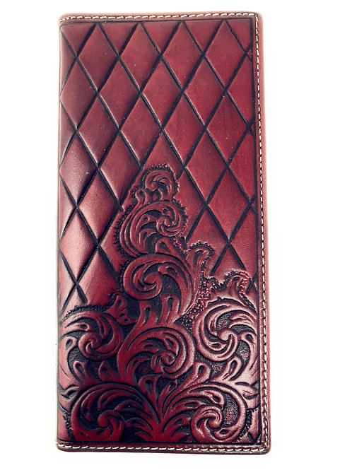 Genuine Leather Basketweave Floral Tooled Diamond Shaped Mens Long Bifold Wallet