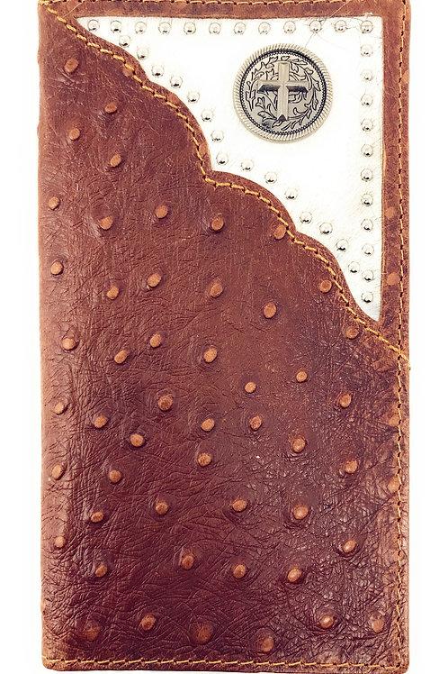 Western Mens Ostrich Genuine Leather Cross Long Cowhide Stud Bifold Wallet