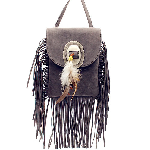 Western Fringe Suede Leather With Feather Crossbody Bag In Multi Color