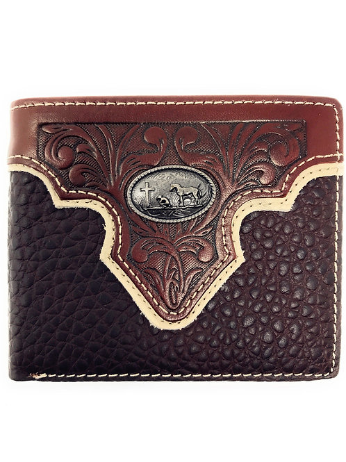 Genuine Leather Floral Tooled Praying Cowboy Concho Mens Short Bifold Wallet