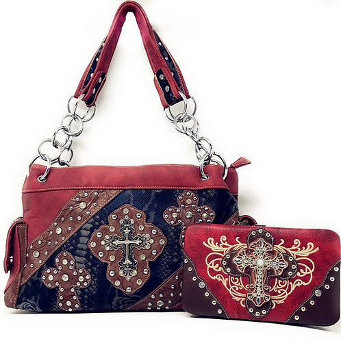 Rhinestone Cross Embroidery Leather Satchel with Matching Wallet One Set