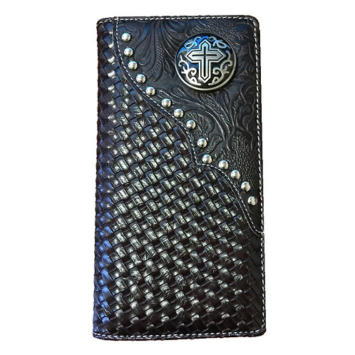 Cross Men's Concho Hand-knitted Leather Bifold Wallet. Extra Checkbook. Coffee
