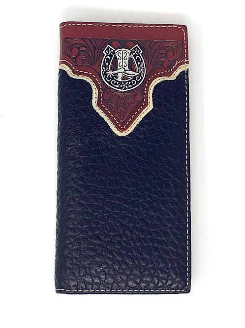 Premium Genuine Leather Tooled Cowboy Boots Mens Bifold Wallet in 2 Colors