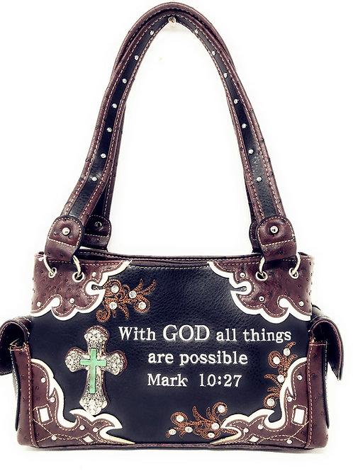 Premium Rhinestone Bible Verse Stone Cross Concealed Carry Handbags