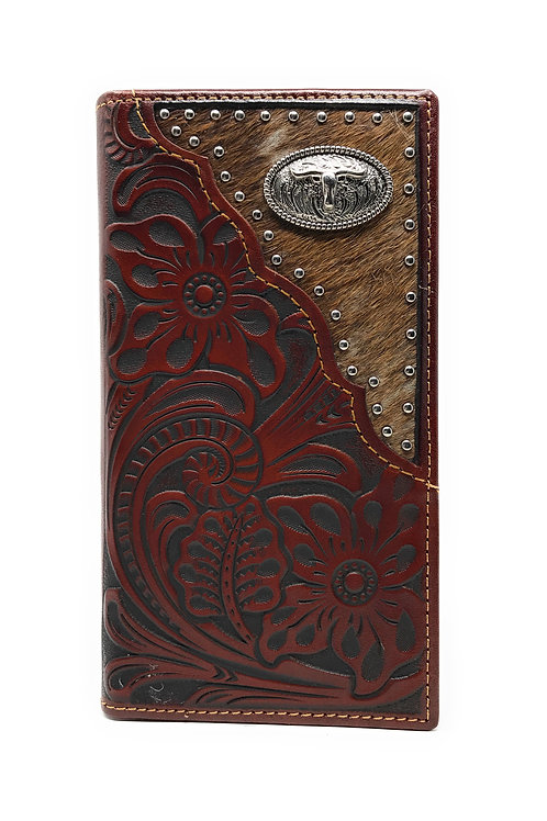 Western Tooled Genuine Leather Cowhide Cow fur longhorn Men's Long Bifold Wallet