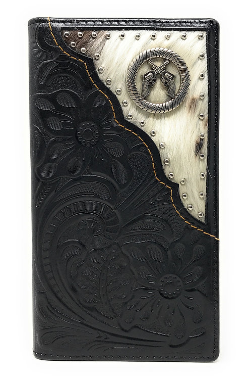 Western Tooled Genuine Leather Cowhide Cow fur Pistols Men's Long Bifold Wallet