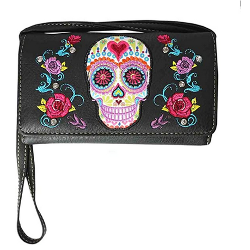 Texas West Western Rhinestone Flora Sugar Skull Crossbody Small Pouch Wallet