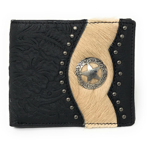 Western Genuine Tooled Leather Cowhide Cow Fur Star Mens Bifold Short Wallet