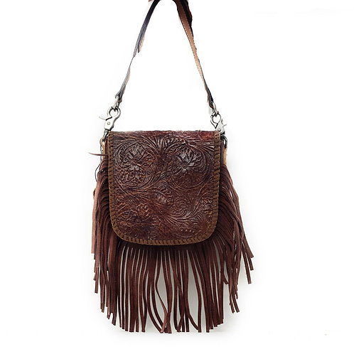 Western Genuine Leather Floral Tooled Fringe Women Crossbody Bag In Multi Color
