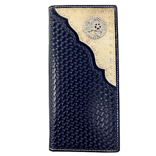Premium Western Genuine Woven Leather Cow Fur State Map Mens Bifold Wallet