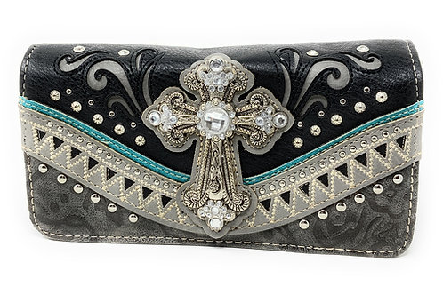 Western Embroidered Concealed Carry Rhinestone Cross Purse Wallet