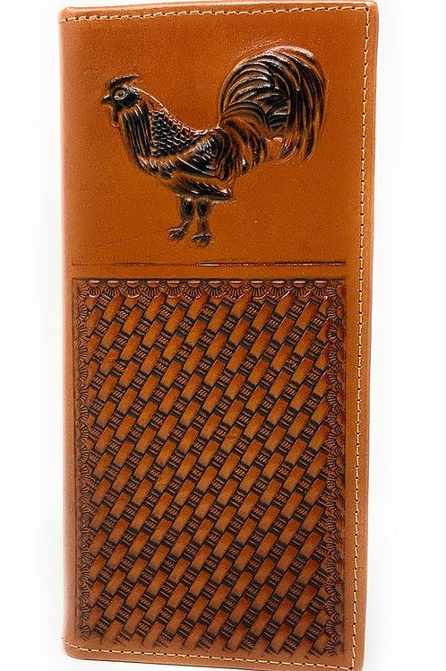 Premium Genuine Western Mens Embossed Rooster Basketweave Long Wallet in 3 Color