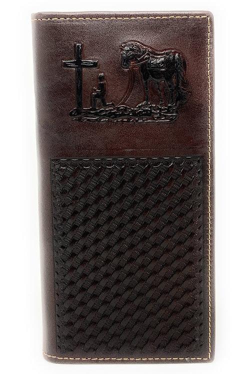 Premium Genuine Western Mens Embossed Praying Cowboy Basketweave Long Wallet