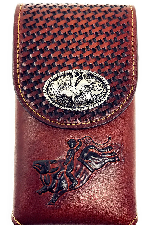 Western Cowboy Tooled Basketweave Leather Rodeo Concho Belt Loop Cellphone Case