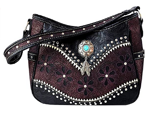 Western Floral Laser Cut Concho Floral Feather Pattern Concealed Carry Shoulder