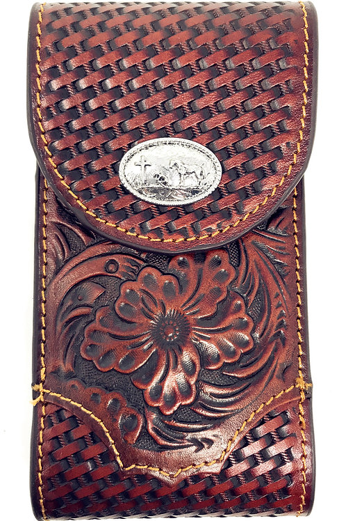 Cowboy Small Genuine Leather Praying Cowboy Galaxy Iphone Holster Cellphone Case