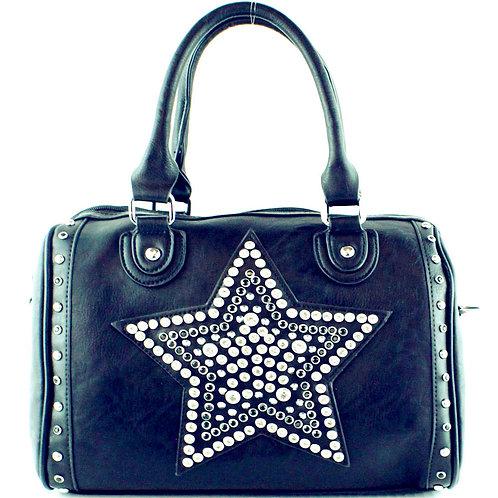 Premium Rhinestone Studded Star Women's Fashion Boston Bag in 6 Colors