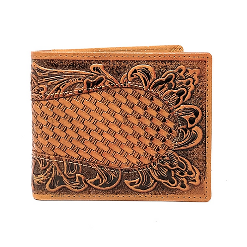 Western Men's Cowboy Leather Floral Tooled Laser Cut Basketweave Short Wallet