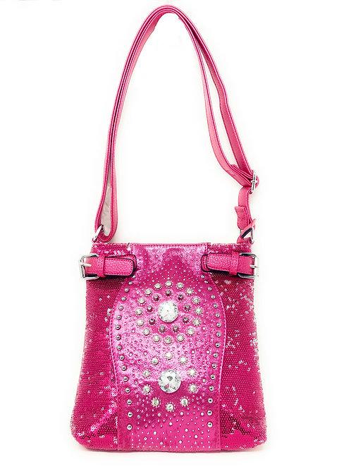 Rhinestone Twin Concho Stud Messenger Handbag w/Adjustable Strap In Multi Color