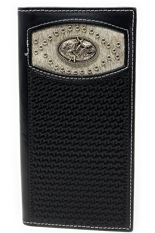 Men's Basketweave Genuine Leather Rodeo Long Cowhide Stud Bifold Wallet