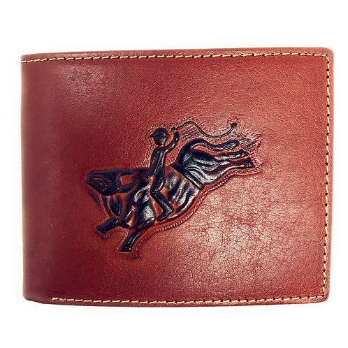 Western Genuine Leather Rodeo Plain Mens Bifold Short Wallet in 2 Color