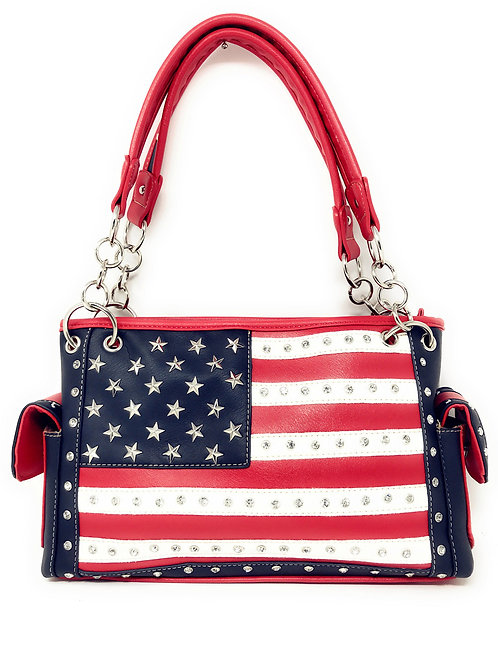 National Flag Concealed Carry Rhinestone Handbag Purse
