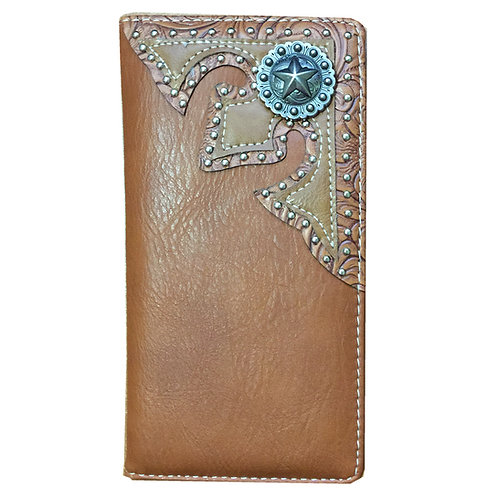 Lone Star Men's Concho Soft Leather Bifold Wallet, Extra Checkbook. Brown