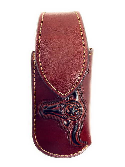 Western Genuine Leather Longhorn Embroidery Folding Knife Holster in Multi Size