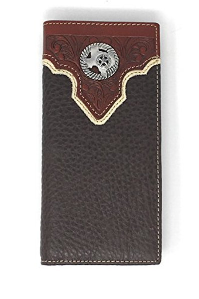 Texas West Premium Tooled Genuine Leather Bifold Wallet in Multi Emblem