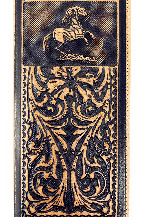 Genuine Leather Basketweave Floral Tooled Horse Mens Long Bifold Wallet 2 colors