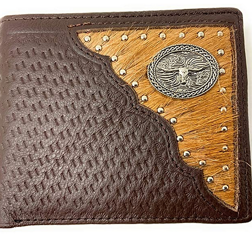 Premium Genuine Leather Basketweave Cowhide Cow Fur Men's Short Bifold Wallet