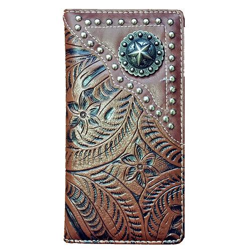 Premium Western Men Faux Leather Ostrich/Crocodile Metal Star Emblem Long Wallet