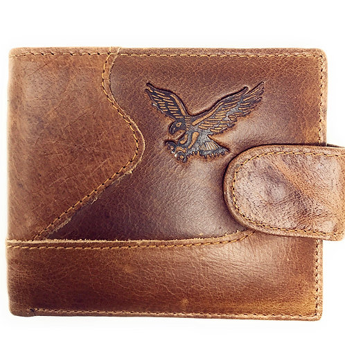 Western Mens Genuine Leather Bifold ID Credit Card Eagle Zip Wallet/Multi Color
