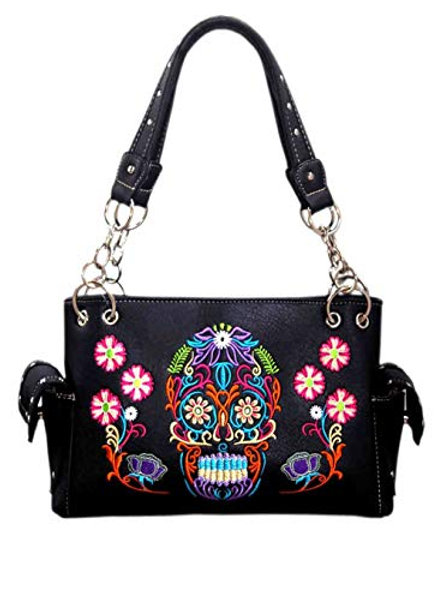 Western Women's Fashion Sugar Skull Embroidery Concealed Carry Handbag