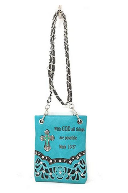 Bible Cover Cut Out Embroidered Scripture Verse Rhinestone Agate Cross Mini Bag
