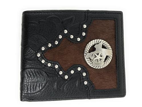 Western Genuine Tooled Leather Cowhide Praying Cowboy Men's Bifold Short Wallet